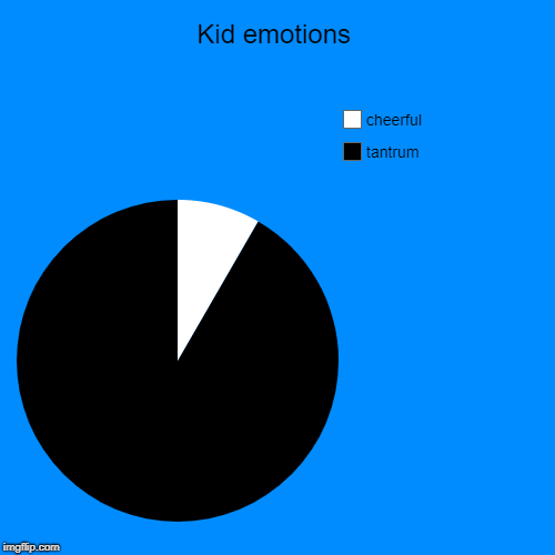 Kid emotions | tantrum, cheerful | image tagged in funny,pie charts | made w/ Imgflip pie chart maker