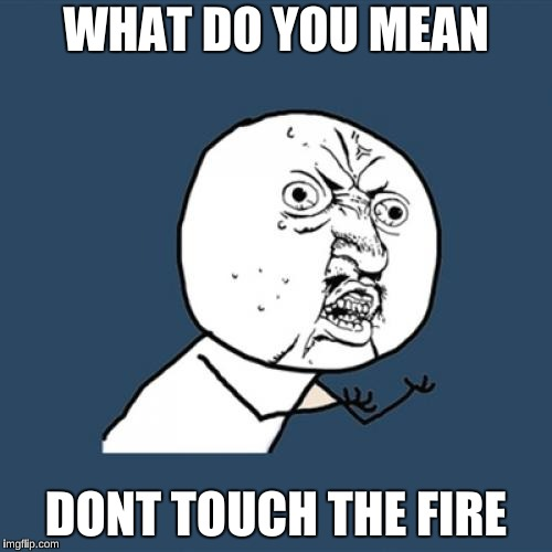 Y U No Meme | WHAT DO YOU MEAN DONT TOUCH THE FIRE | image tagged in memes,y u no | made w/ Imgflip meme maker