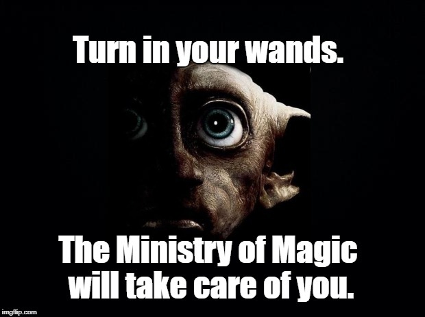 Protect your right to bear wands!  | Turn in your wands. The Ministry of Magic will take care of you. | image tagged in black background,harry potter,dobby,2nd amendment | made w/ Imgflip meme maker