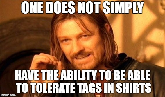 One Does Not Simply | ONE DOES NOT SIMPLY HAVE THE ABILITY TO BE ABLE TO TOLERATE TAGS IN SHIRTS | image tagged in memes,one does not simply,doctordoomsday180,shirt,tags,tolerance | made w/ Imgflip meme maker