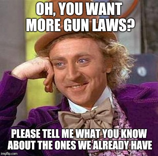 Creepy Condescending Wonka Meme | OH, YOU WANT MORE GUN LAWS? PLEASE TELL ME WHAT YOU KNOW ABOUT THE ONES WE ALREADY HAVE | image tagged in memes,creepy condescending wonka | made w/ Imgflip meme maker