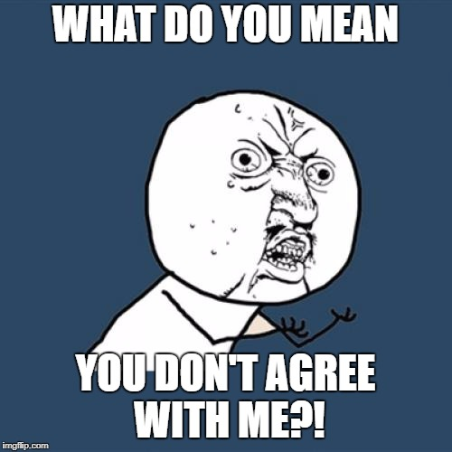 Y U No Meme | WHAT DO YOU MEAN YOU DON'T AGREE WITH ME?! | image tagged in memes,y u no | made w/ Imgflip meme maker