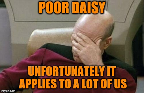 Captain Picard Facepalm Meme | POOR DAISY UNFORTUNATELY IT APPLIES TO A LOT OF US | image tagged in memes,captain picard facepalm | made w/ Imgflip meme maker