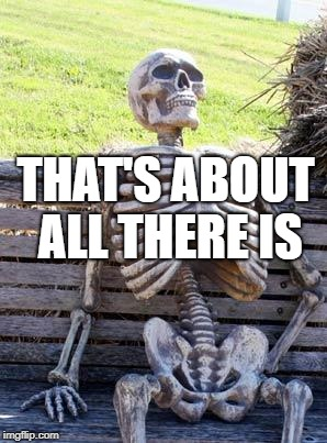 Waiting Skeleton Meme | THAT'S ABOUT ALL THERE IS | image tagged in memes,waiting skeleton | made w/ Imgflip meme maker