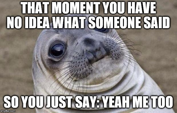 Awkward Moment Sealion Meme | THAT MOMENT YOU HAVE NO IDEA WHAT SOMEONE SAID SO YOU JUST SAY: YEAH ME TOO | image tagged in memes,awkward moment sealion | made w/ Imgflip meme maker