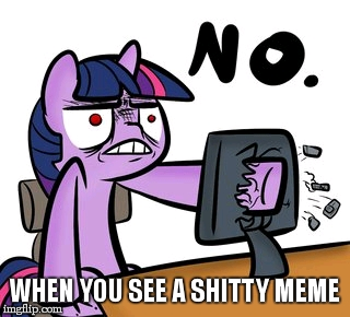 relatable?¿ My little pony meme week! (this is your fault xander) A Xanderbrony event! | WHEN YOU SEE A SHITTY MEME | image tagged in twilight sparkle no,xanderbrony,my little pony meme week,mlp,fault,ikr | made w/ Imgflip meme maker