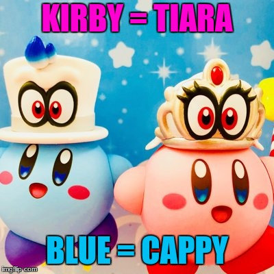 Super Kirby Odyssey: Mario Star Allies | KIRBY = TIARA BLUE = CAPPY | image tagged in memes,nintendo | made w/ Imgflip meme maker