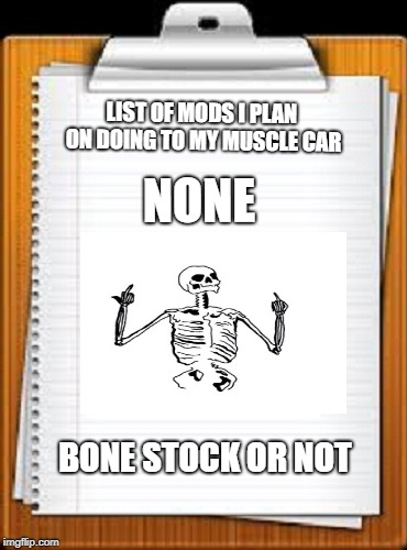 Bone Stock or Not | LIST OF MODS I PLAN ON DOING TO MY MUSCLE CAR BONE STOCK OR NOT NONE | image tagged in car memes,cars | made w/ Imgflip meme maker