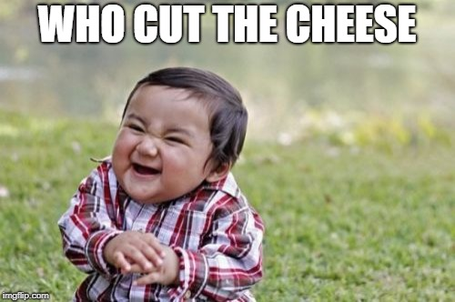Evil Toddler Meme | WHO CUT THE CHEESE | image tagged in memes,evil toddler | made w/ Imgflip meme maker