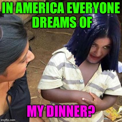 Skeptical Mima | IN AMERICA EVERYONE DREAMS OF MY DINNER? | image tagged in skeptical mima | made w/ Imgflip meme maker