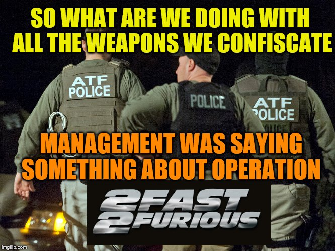 "You know, the sequel to operation ""Fast and Furious"". Are you really really sure you want them gathering up guns? 