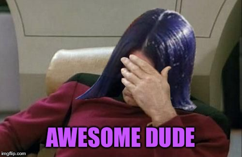Mima facepalm | AWESOME DUDE | image tagged in mima facepalm | made w/ Imgflip meme maker