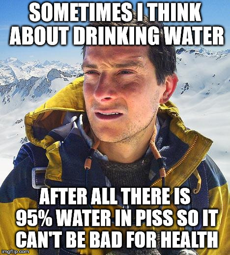 Bear Grylls drinking water | SOMETIMES I THINK ABOUT DRINKING WATER AFTER ALL THERE IS 95% WATER IN PISS SO IT CAN'T BE BAD FOR HEALTH | image tagged in memes,bear grylls,piss,funny,water | made w/ Imgflip meme maker