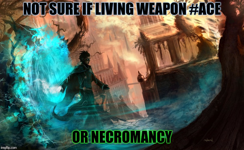 NOT SURE IF LIVING WEAPON #ACE OR NECROMANCY | made w/ Imgflip meme maker