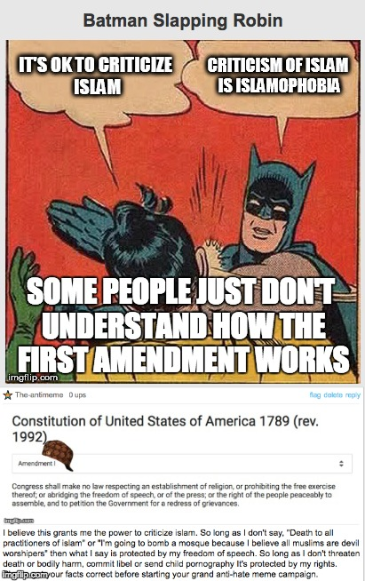 I typically don't comment on political memes but sometimes I feel the need to educate people on our first amendment rights. | SOME PEOPLE JUST DON'T UNDERSTAND HOW THE FIRST AMENDMENT WORKS | image tagged in memes,batman slapping robin,meme comments,comment section,first amendment | made w/ Imgflip meme maker