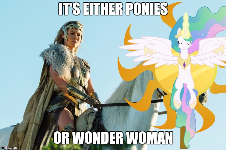 IT'S EITHER PONIES OR WONDER WOMAN | made w/ Imgflip meme maker