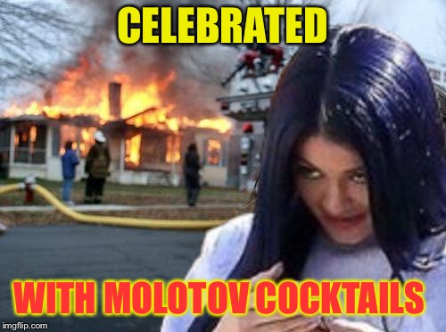 Disaster Mima | CELEBRATED WITH MOLOTOV COCKTAILS | image tagged in disaster mima | made w/ Imgflip meme maker