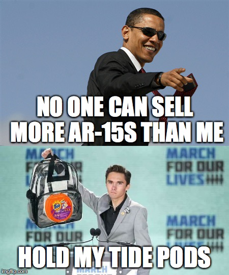 Hogg pods | NO ONE CAN SELL MORE AR-15S THAN ME HOLD MY TIDE PODS | image tagged in david hogg,tide pods,guns,ar-15,nra | made w/ Imgflip meme maker