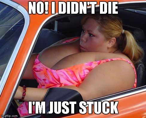 Built In Airbags (Dead Memes Week) | NO! I DIDN'T DIE I'M JUST STUCK | image tagged in dead memes week,dead meme,dead memes,built in airbags,fat woman,really fat girl | made w/ Imgflip meme maker