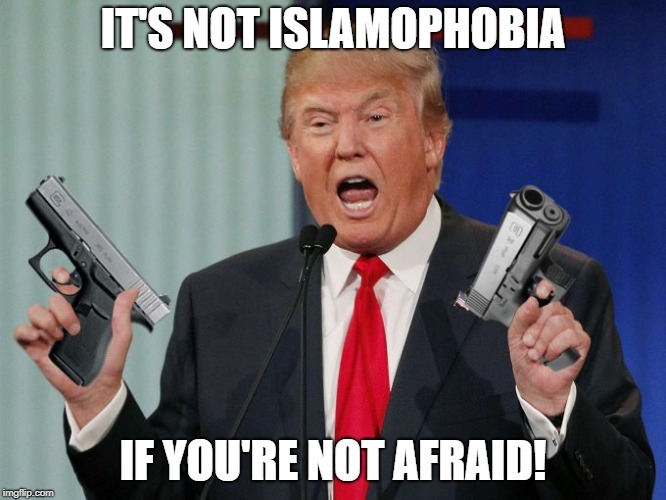 Gun Trump | IT'S NOT ISLAMOPHOBIA IF YOU'RE NOT AFRAID! | image tagged in gun trump | made w/ Imgflip meme maker