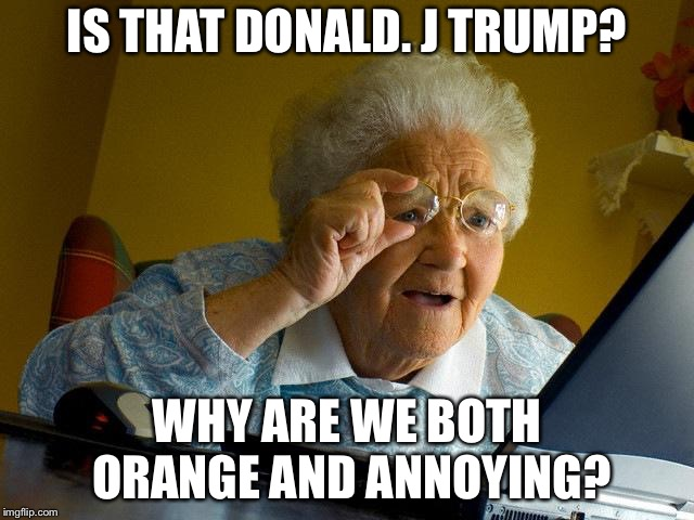 Grandma Finds The Internet Meme | IS THAT DONALD. J TRUMP? WHY ARE WE BOTH ORANGE AND ANNOYING? | image tagged in memes,grandma finds the internet | made w/ Imgflip meme maker