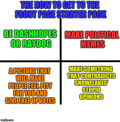 Blank Starter Pack Meme | THE HOW TO GET TO THE FRONT PAGE STARTER PACK MAKE SOMETHING THAT CONTRADICTS SNOWFLAKES' STUPID OPINIONS MAKE POLITICAL MEMES BE DASHHOPES  | image tagged in memes,blank starter pack | made w/ Imgflip meme maker