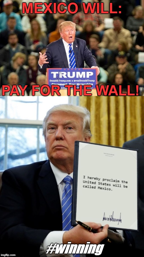 Mexico pays | MEXICO WILL: PAY FOR THE WALL! #winning | image tagged in trump,wall,snowflakes | made w/ Imgflip meme maker