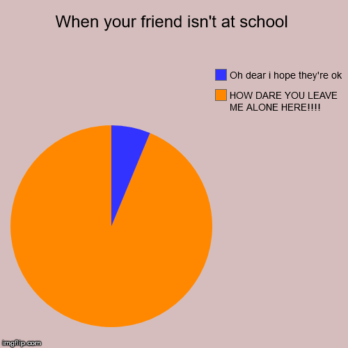 School Life | When your friend isn't at school | HOW DARE YOU LEAVE ME ALONE HERE!!!!, Oh dear i hope they're ok | image tagged in funny,pie charts,school | made w/ Imgflip pie chart maker