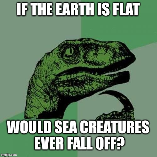 Philosoraptor | IF THE EARTH IS FLAT WOULD SEA CREATURES EVER FALL OFF? | image tagged in memes,philosoraptor,flat earth,sea life,underwater,fall | made w/ Imgflip meme maker