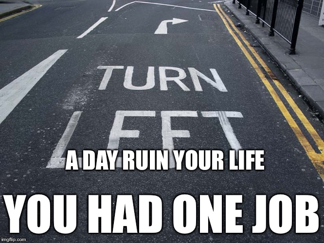 A DAY RUIN YOUR LIFE YOU HAD ONE JOB | image tagged in you had one job | made w/ Imgflip meme maker