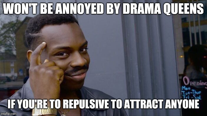 Roll Safe Think About It Meme | WON'T BE ANNOYED BY DRAMA QUEENS IF YOU'RE TO REPULSIVE TO ATTRACT ANYONE | image tagged in memes,roll safe think about it | made w/ Imgflip meme maker