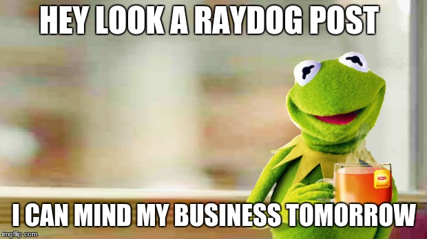 HEY LOOK A RAYDOG POST I CAN MIND MY BUSINESS TOMORROW | made w/ Imgflip meme maker