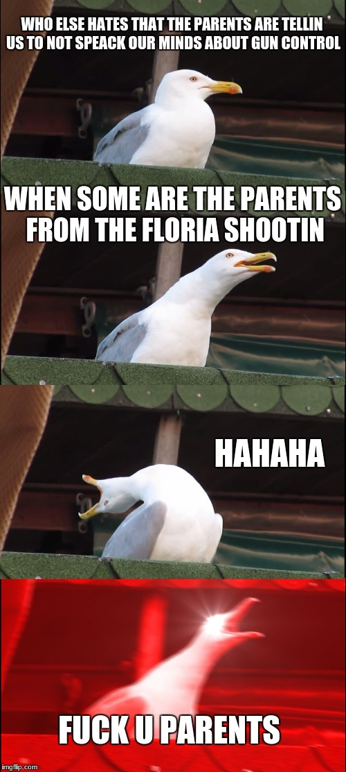 Inhaling Seagull Meme | WHO ELSE HATES THAT THE PARENTS ARE TELLIN US TO NOT SPEACK OUR MINDS ABOUT GUN CONTROL WHEN SOME ARE THE PARENTS FROM THE FLORIA SHOOTIN HA | image tagged in memes,inhaling seagull | made w/ Imgflip meme maker