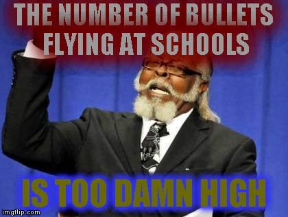 Flying | THE NUMBER OF BULLETS FLYING AT SCHOOLS IS TOO DAMN HIGH | image tagged in memes,is too damn high | made w/ Imgflip meme maker