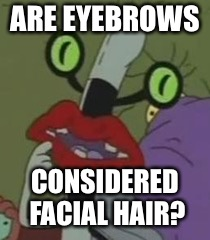 ARE EYEBROWS CONSIDERED FACIAL HAIR? | image tagged in pondering oblina | made w/ Imgflip meme maker