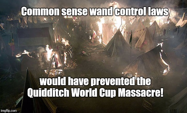 Support your right to bear wands! | Common sense wand control laws would have prevented the Quidditch World Cup Massacre! | image tagged in 2nd amendment,harry potter,gun control | made w/ Imgflip meme maker