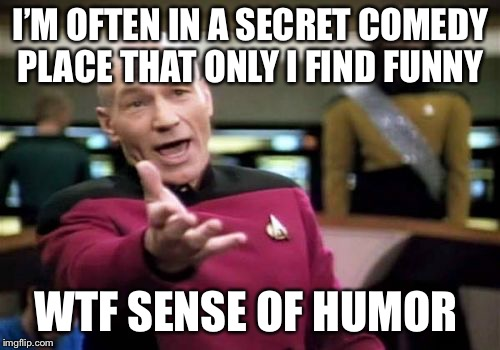 Picard Wtf Meme | I'M OFTEN IN A SECRET COMEDY PLACE THAT ONLY I FIND FUNNY WTF SENSE OF HUMOR | image tagged in memes,picard wtf | made w/ Imgflip meme maker