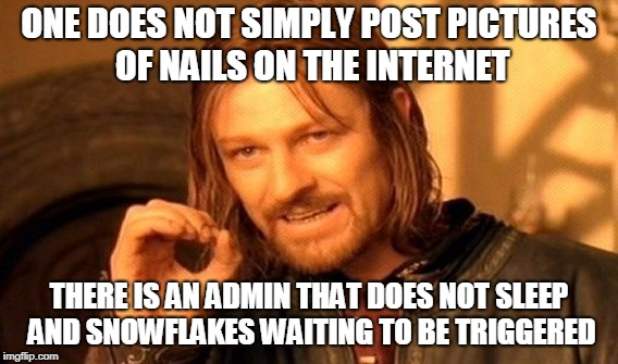 One Does Not Simply Meme | ONE DOES NOT SIMPLY POST PICTURES OF NAILS ON THE INTERNET THERE IS AN ADMIN THAT DOES NOT SLEEP AND SNOWFLAKES WAITING TO BE TRIGGERED | image tagged in memes,one does not simply | made w/ Imgflip meme maker