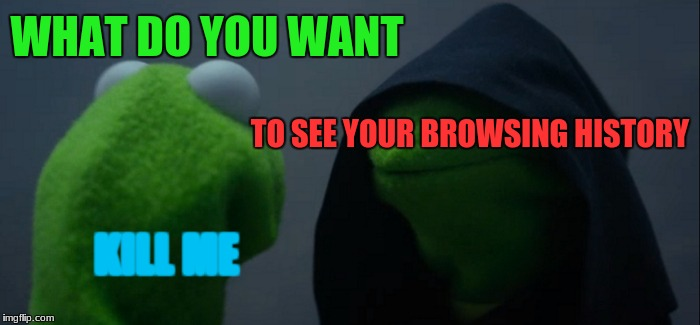 Browser History | WHAT DO YOU WANT TO SEE YOUR BROWSING HISTORY KILL ME | image tagged in memes,evil kermit | made w/ Imgflip meme maker