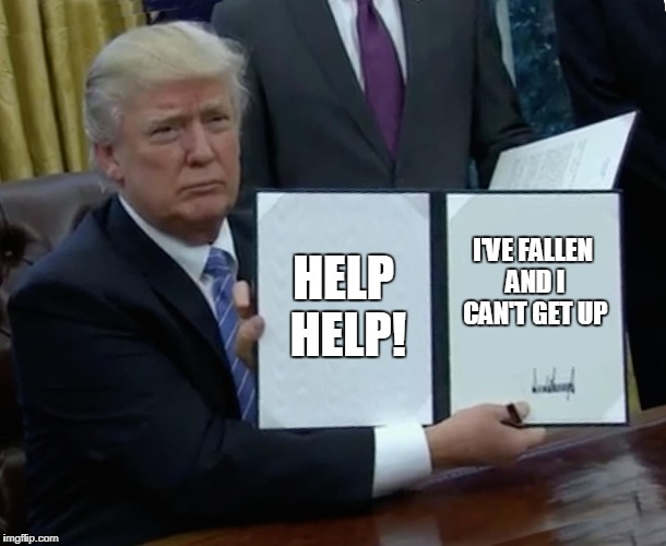Trump Bill Signing Meme | HELP HELP! I'VE FALLEN AND I CAN'T GET UP | image tagged in memes,trump bill signing | made w/ Imgflip meme maker