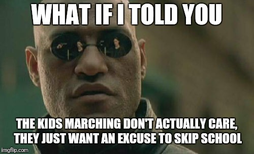Matrix Morpheus Meme | WHAT IF I TOLD YOU THE KIDS MARCHING DON'T ACTUALLY CARE, THEY JUST WANT AN EXCUSE TO SKIP SCHOOL | image tagged in memes,matrix morpheus | made w/ Imgflip meme maker