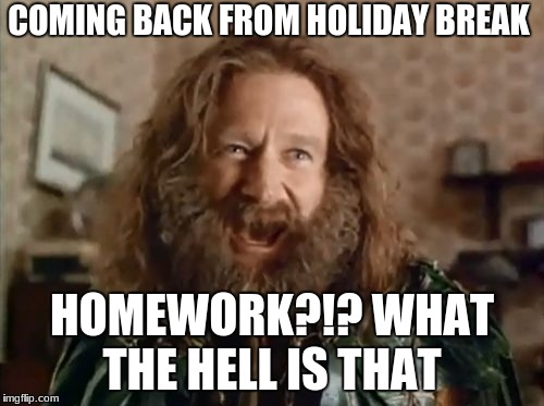 What Year Is It Meme | COMING BACK FROM HOLIDAY BREAK HOMEWORK?!? WHAT THE HELL IS THAT | image tagged in memes,what year is it | made w/ Imgflip meme maker