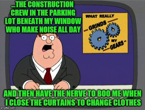 So sorry that I'm inconveniencing YOU. | ...THE CONSTRUCTION CREW IN THE PARKING LOT BENEATH MY WINDOW WHO MAKE NOISE ALL DAY AND THEN HAVE THE NERVE TO BOO ME WHEN I CLOSE THE CURT | image tagged in memes,peter griffin news,construction | made w/ Imgflip meme maker