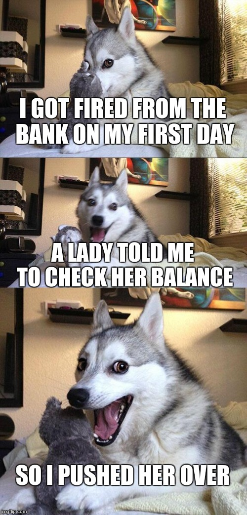 Bad Pun Dog Meme | I GOT FIRED FROM THE BANK ON MY FIRST DAY A LADY TOLD ME TO CHECK HER BALANCE SO I PUSHED HER OVER | image tagged in memes,bad pun dog | made w/ Imgflip meme maker