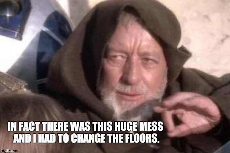IN FACT THERE WAS THIS HUGE MESS AND I HAD TO CHANGE THE FLOORS. | made w/ Imgflip meme maker
