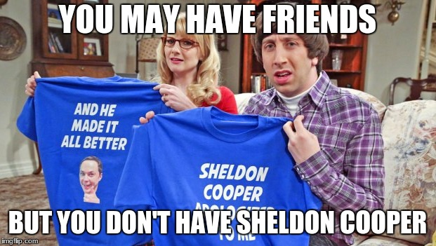 Sheldon Cooper is the Best Friend. | YOU MAY HAVE FRIENDS BUT YOU DON'T HAVE SHELDON COOPER | image tagged in sheldon cooper | made w/ Imgflip meme maker
