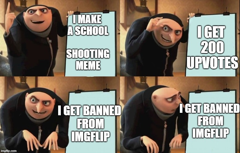 I MAKE A SCHOOL SHOOTING MEME I GET 200 UPVOTES I GET BANNED FROM IMGFLIP I GET BANNED FROM IMGFLIP | made w/ Imgflip meme maker