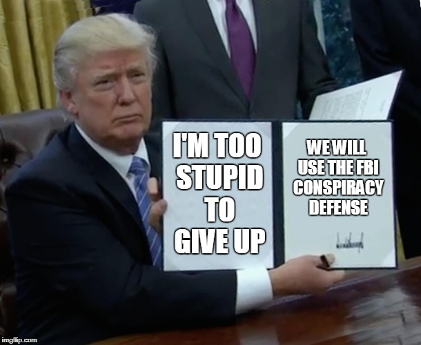Trump Bill Signing Meme | I'M TOO STUPID TO GIVE UP WE WILL USE THE FBI CONSPIRACY DEFENSE | image tagged in memes,trump bill signing | made w/ Imgflip meme maker