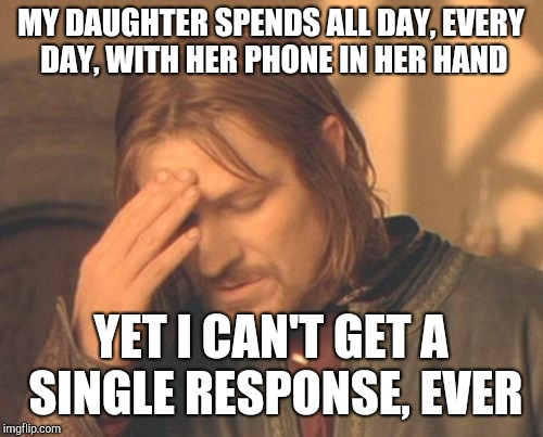 Frustrated Boromir Meme | MY DAUGHTER SPENDS ALL DAY, EVERY DAY, WITH HER PHONE IN HER HAND YET I CAN'T GET A SINGLE RESPONSE, EVER | image tagged in memes,frustrated boromir | made w/ Imgflip meme maker