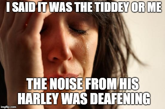 First World Problems Meme | I SAID IT WAS THE TIDDEY OR ME THE NOISE FROM HIS HARLEY WAS DEAFENING | image tagged in memes,first world problems | made w/ Imgflip meme maker